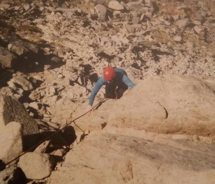 Mark climbing on the Milestone Buttress in Snowdonia.