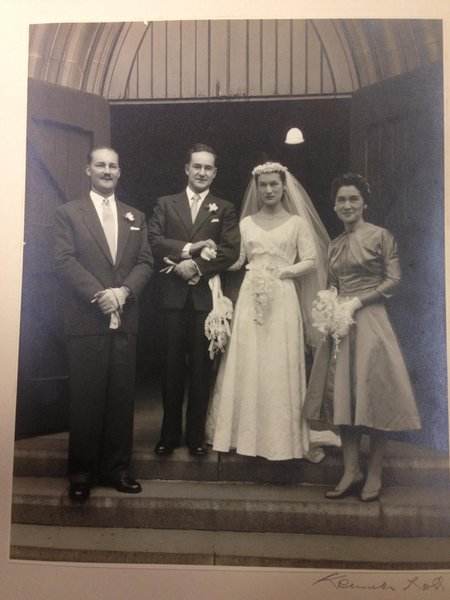 Trevor and June Masson on their Wedding day.  with Richard Masson (Trevor's Bro) and Merlyn Leegow (June's Sis) at St Johns Anglican Church Finch Street East Malvern