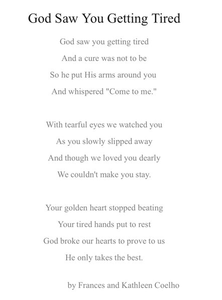 Poem from mum's funeral - Miss you everyday 💔💕xx