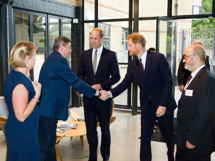 Prince William and Prince Harry greeting charity representatives at the Community Hub