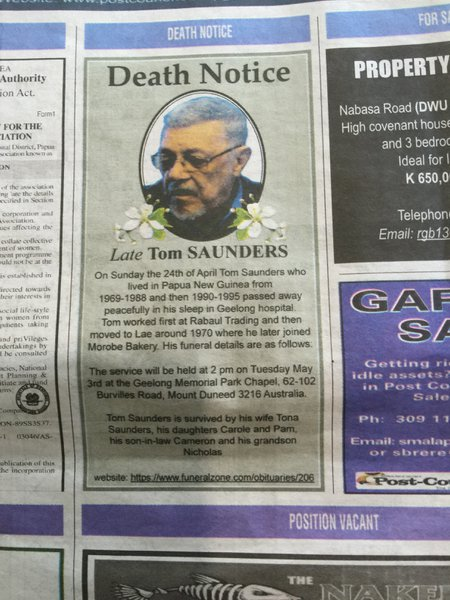 Dad's notice in the Post Courier - thanks to Cath Porter for organising this