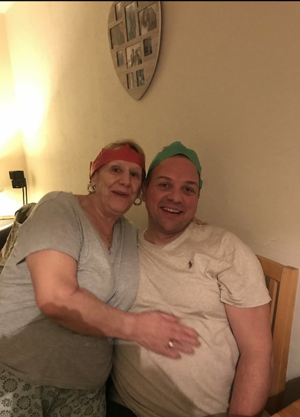 Paul with his mum on Christmas Day 2019