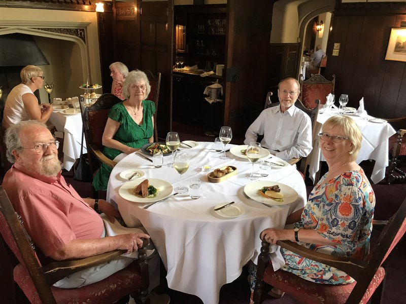 Celebrating Eric's 80th birthday and Pat's 70th at Thornbury Castle when they visited us at the end of July 2018. Such a lovely few days here with us.