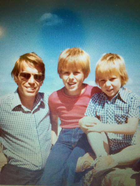 Mick, with his two sons Stephen and Darren. On holiday Circa 1976