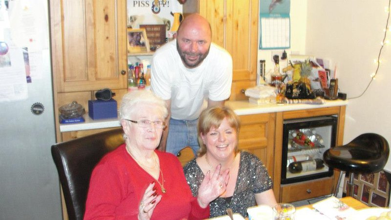 Edna's 85th birthday, celebrating with Mark and Wendy