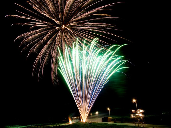 Gold, green and purple fireworks light up the night sky