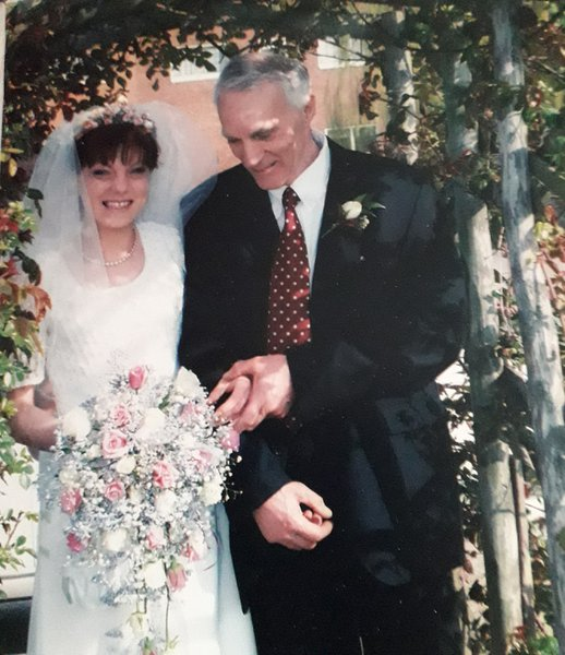 A proud moment having dad walk me down the aisle, 8th April 2000