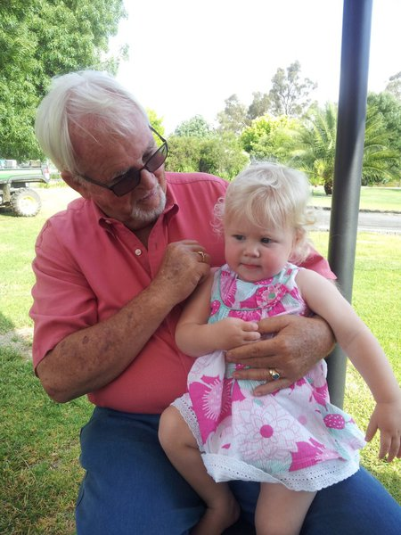 Dad with his youngest grandchild. Also loving and attentive. So long my friend