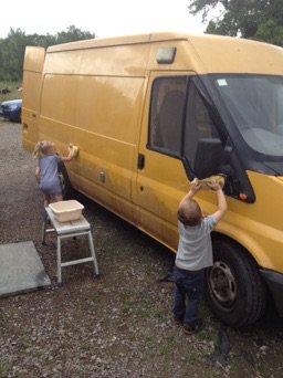 The beloved van being cleaned