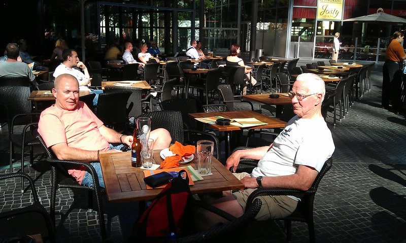 Enjoying a beer in the Sun. Dad and I with Paul on photo duties. Berlin May 2012
