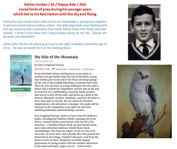 Adrian Jordan / AJ / Happy Ade / Ado  Loved birds of prey during his younger years  which led to his fascination with the sky and flying.