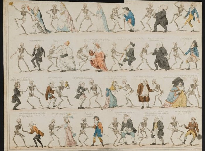 Copy of 18th century illustration of skeletons dancing with various types of people: lawyers, ladies, bishops, gentlemen etc