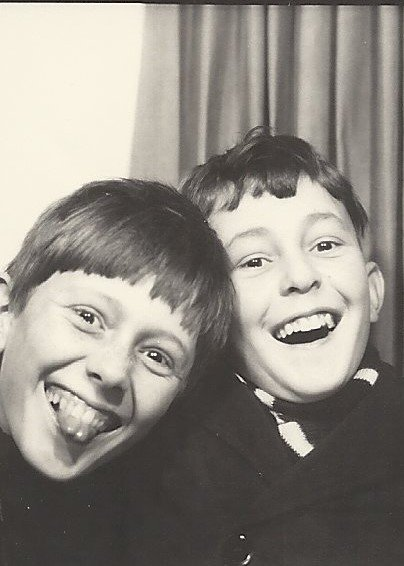 Having a laugh with his brother Alan