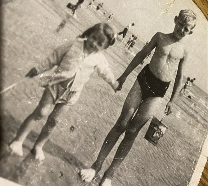 Auntie Glynis and Dad at the beach X