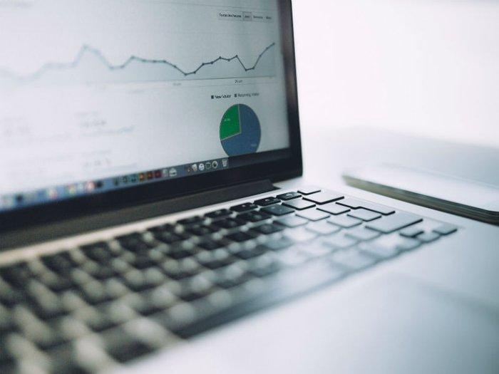Website views chart on laptop