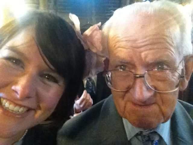 Grandad and I at John & Steffi's wonderful wedding. Grandad was fascinated by my phone taking a photo.
