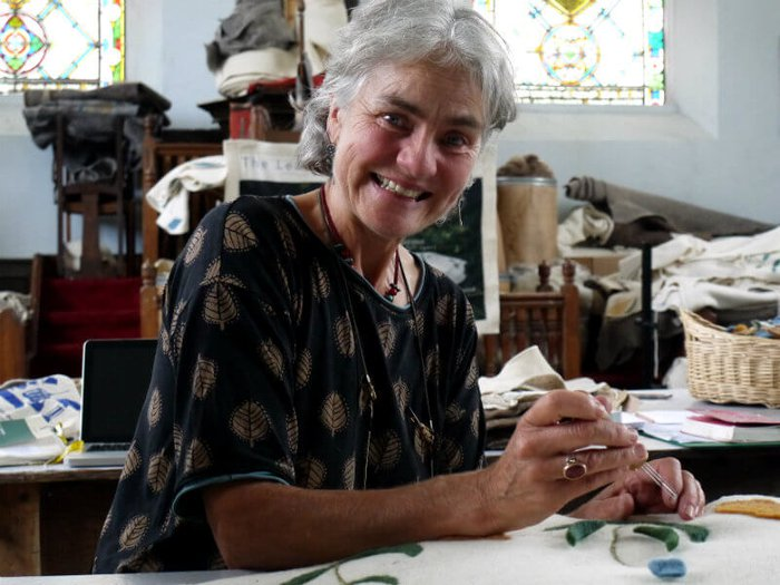 Yuli Somme makes bespoke felt burial cocoons and coffin covers in her studio in Moretonhampstead