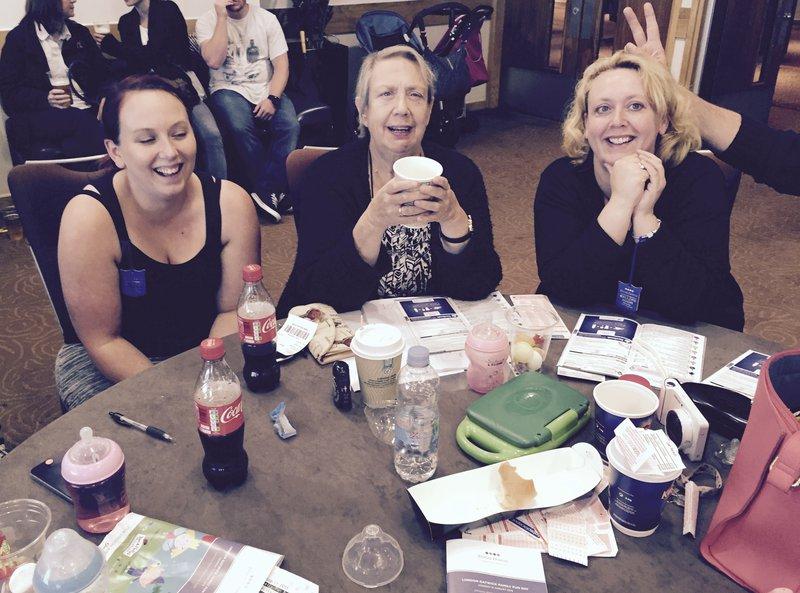 Joyce enjoying Wellsy Raceday 2015 with Tricia and Chloe