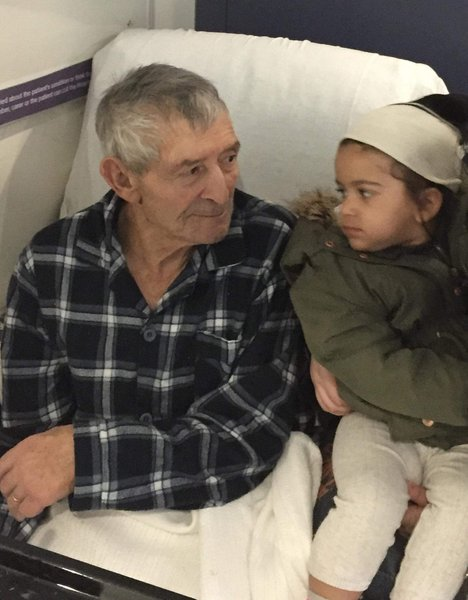 My grandfather with his great great granddaughter