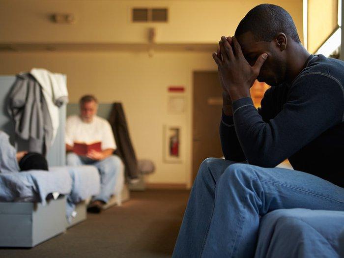 Terminally ill man in a homeless hostel