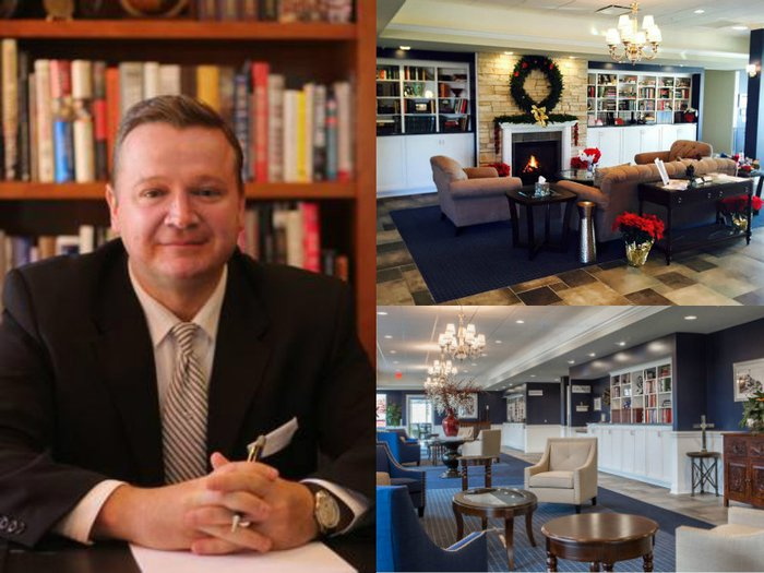 A portrait of funeral director Phillip A Maher and interiors shots of his funeral home in Tinley Park, Illinois