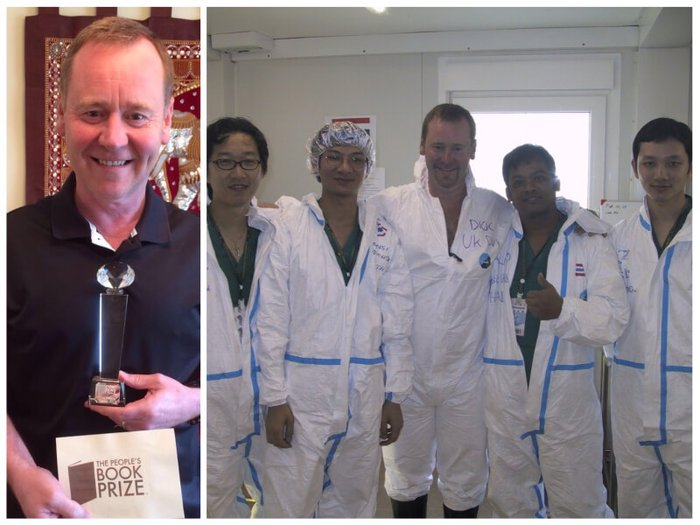 Richard Venables with his book prize / Richard with his team in Thailand