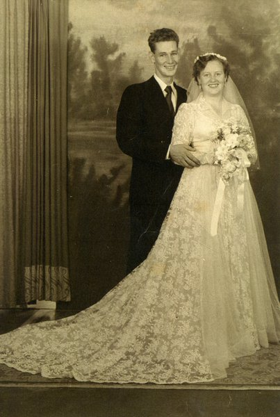 Nanna and Pop on their wedding day.  Nanna actually made the wedding dress herself.