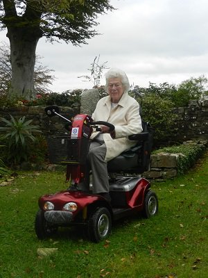 Mum on her much loved buggy from the RAF
