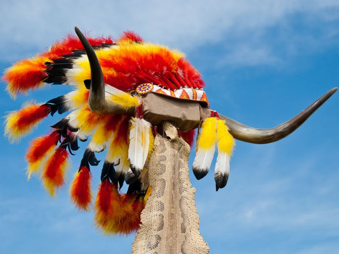 A traditional Native American headdress sitting atop a pair of buffalo horns