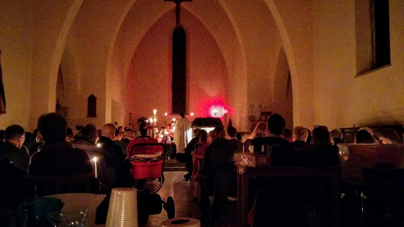 The annual carol service at St Mary the Virgin Little Chart. Philip centre stage. Joy invisible near the back, but ever the architect of this much missed Christmas event.