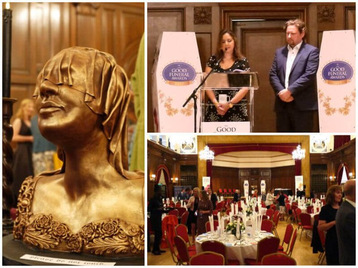 The Good Funeral Awards: The funerary cake sculpture, Jools Barksy accepting an award and Porchester Hall, London