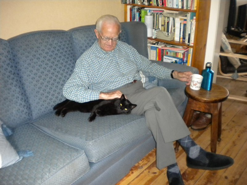 Dad with our cat Baggie 2013
