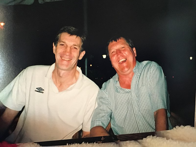 I've always liked this photo of you both. We have shared so much over the years it's so hard to say goodbye but we will meet again. R.I.P my pal. Thinking of you all at this awfully sad time. XX