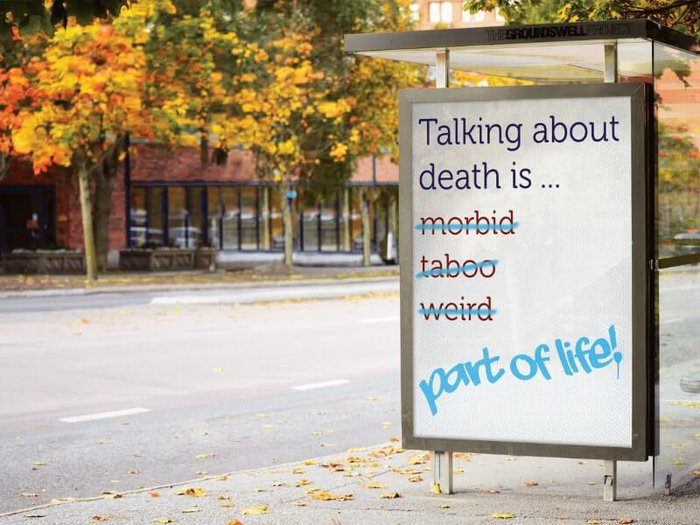 Billboard saying that talking about death is part of life