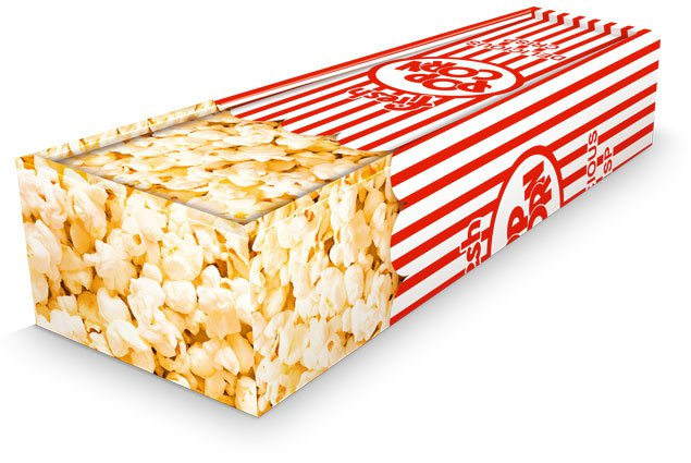 This coffin looks like a cinema-style popcorn carton