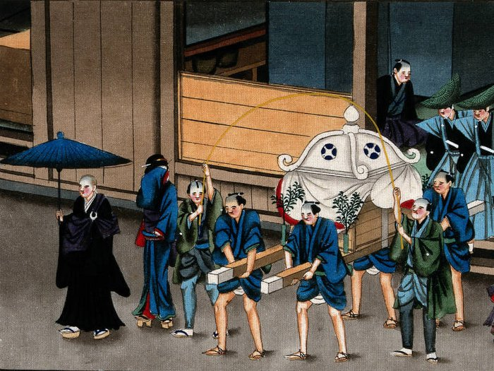 Painting of traditional Japanese funeral rituals