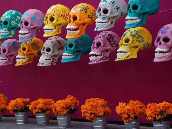 Colorful sugar skull decorations and pots of marigolds for Dia De Los Muertos