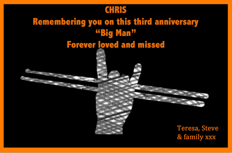 Incomprehensible that it's been three years since you were taken Chris.  Rest in perfect peace, Big Man.  Much love xxx