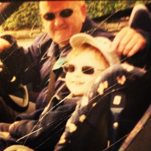 This is Me and Grandad in our laughable McDonalds sunglasses going to car boot sales 😂