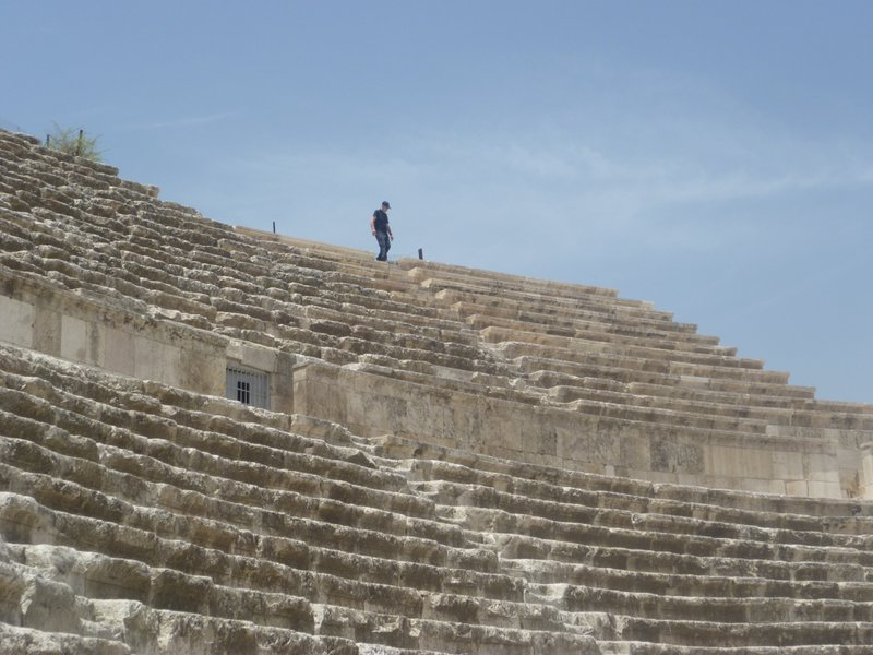 One of Dad's loves....climbing (not up a roof this time, up a Roman amphitheatre in Jordan). x