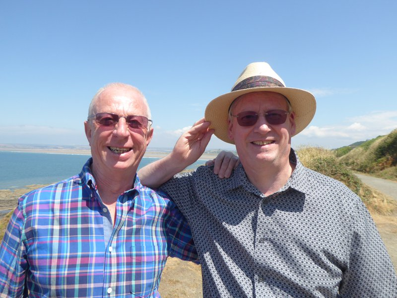 Brian and Peter on the Puffing Billy track, Westward Ho! 12 July 2018. Brian loved walking and his favourite seat was on the track to Greencliff that looked out along the bay to Buck's Mills, Clovelly and Hartland Point.