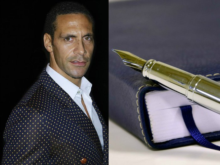A portrait of Rio Ferdinand by Walterlan Papetti via Creative Commons and of a diary and pen