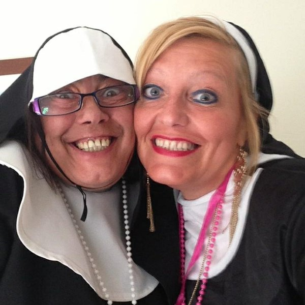 My reluctant naughty nun  , what a funny weekend. Feeling silly so I went to collect the nuns from their chalet , after a few drinks they were soon ' bless you my child ' all the sinners !! Very much loved , missed beyond words, what a woman x