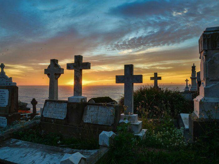Graveyard at sunset