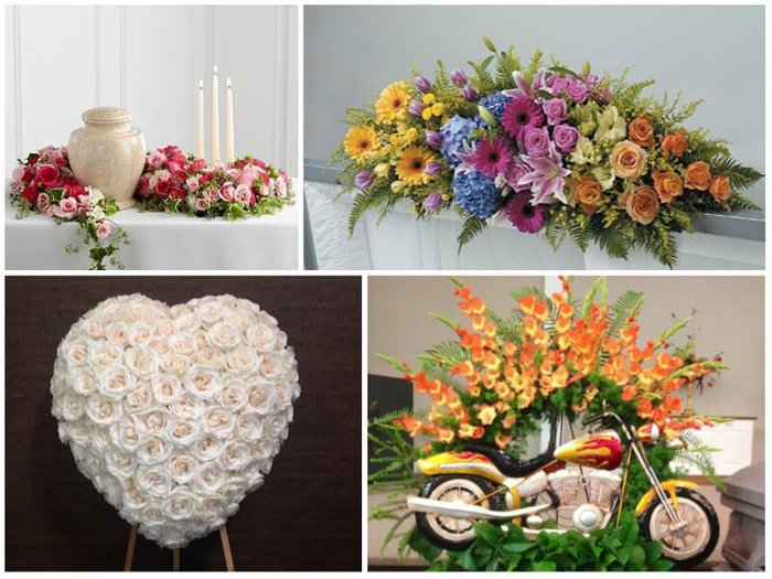 Beautiful flowers for a funeral, including motorcycle floral tribute and multi-colored coffin spray