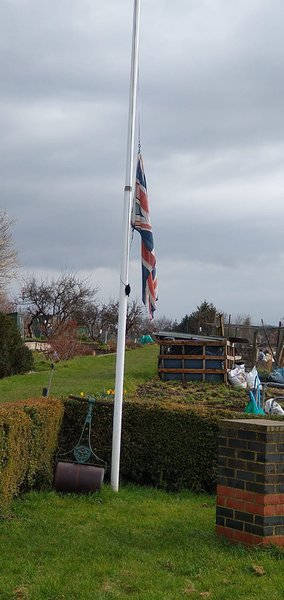 Flag at Addiscombe Woodside & Shirley Leisure Gardens flying at half mast in memory of Ron. Fondly remembered by his gardening friends. Ken Sheehan