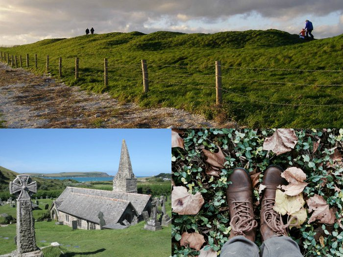 a photo montage of cemeteries which feature in this winter walk ideas article