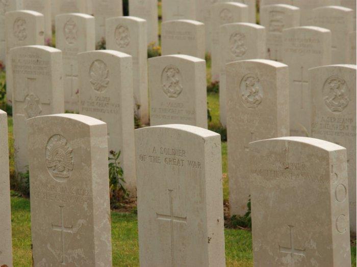 Headstones in a war memorial cemetery