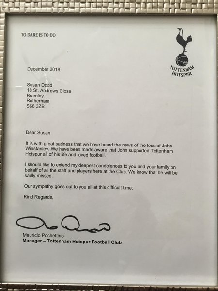This letter arrived from Tottenham Football club.   John would be made up. His life his passion.