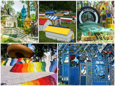 Colorful graves and cemeteries